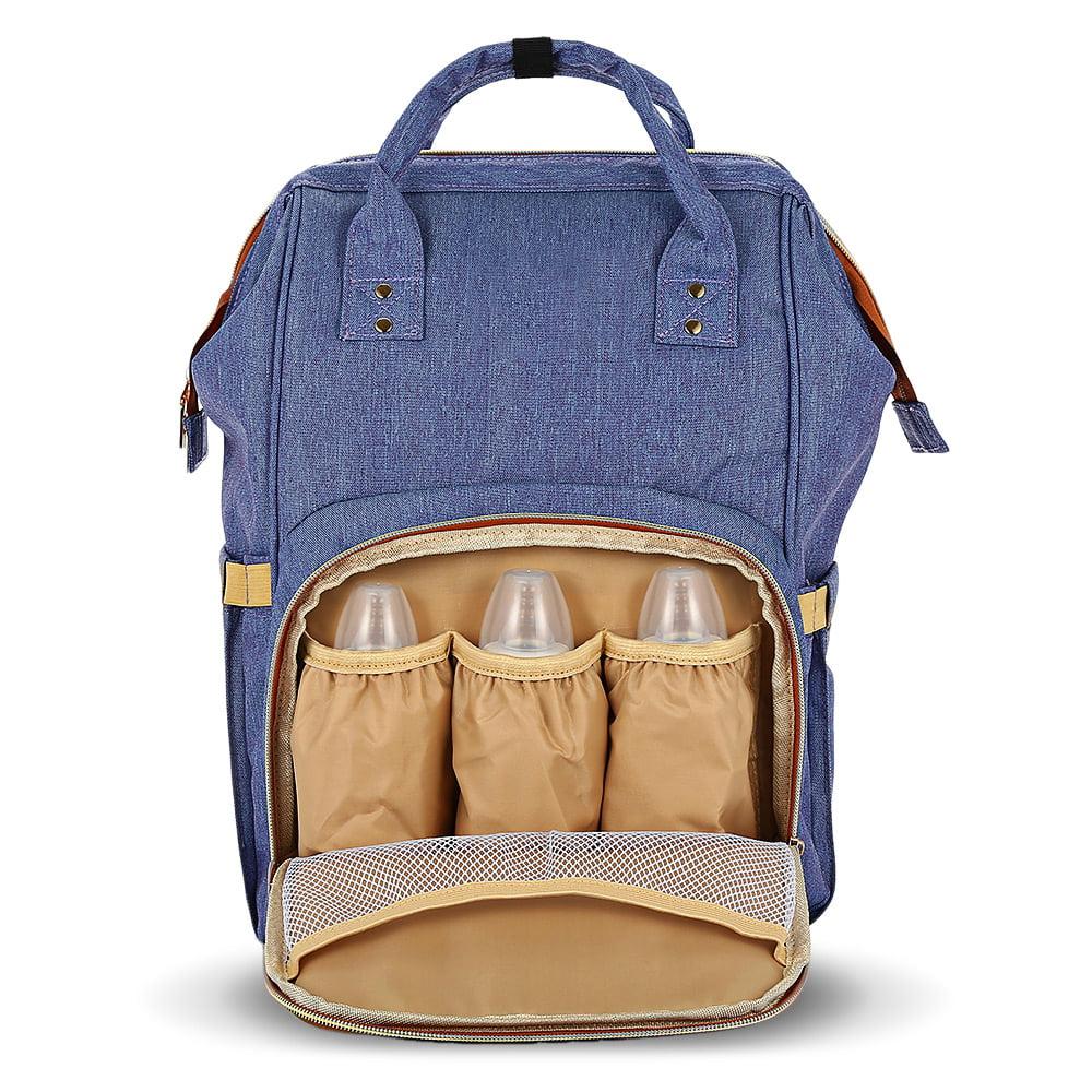 Diaper Tote Bag, Large Travel Waterproof Prepared Backpack Diaper Bag, Blue