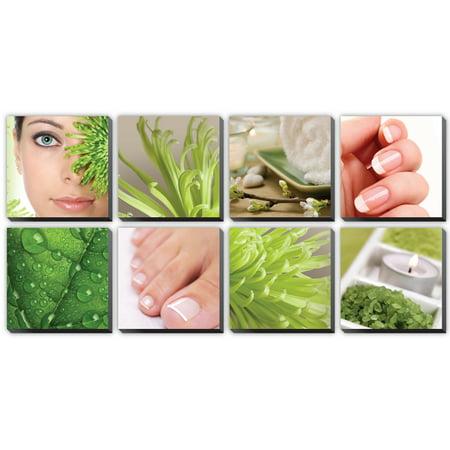 BLOOM 8 Pc Beauty Salon Spa Massage Decal Decoration 24 x 24 Canvas Mural CM-BL - Salon Decorations
