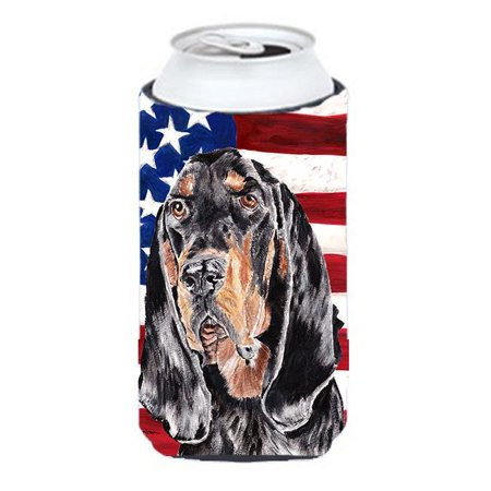 Coonhound Black And Tan Usa American Flag Tall Boy bottle sleeve Hugger - 22 To 24
