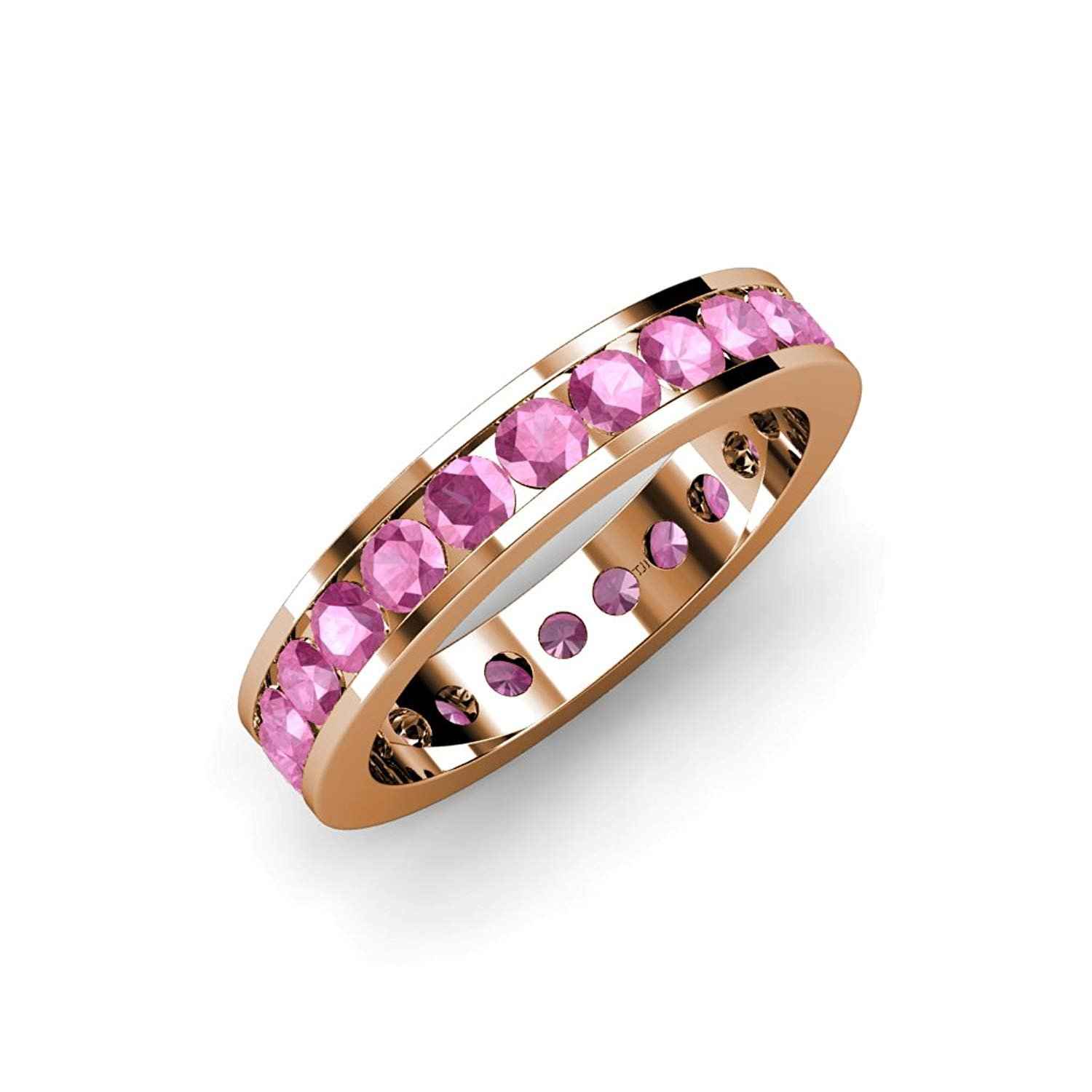 Pink Sapphire Channel Set Eternity Band 2.00 ct tw to 2.42 ct tw in 14K Rose Gold.size 5.5 by TriJewels