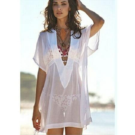 993afa541e 2015 Sexy Women Bathing Suit Chiffon Bikini Cover Up Swimwear Summer Beach  Dress - Walmart.com