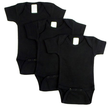 Bambini Black Short Sleeve Onesies Bodysuits, 3pk (Baby Boys or Baby Girls, Unisex)
