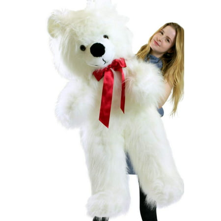 American Made Giant White Teddy Bear 46 inch Soft Big Plush Valentines Day Stuffed Animal (America Teddy Bear)