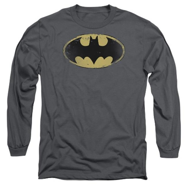 Batman-Distressed Shield - Long Sleeve Adult 18-1 Tee - Charcoal, Large - image 1 of 1