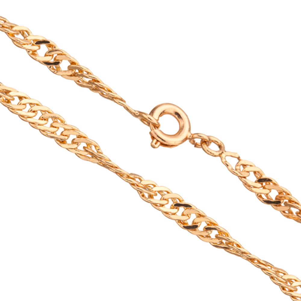 24Inch Necklace Gold Twisted Flat Curb Chain With Springring Clasp