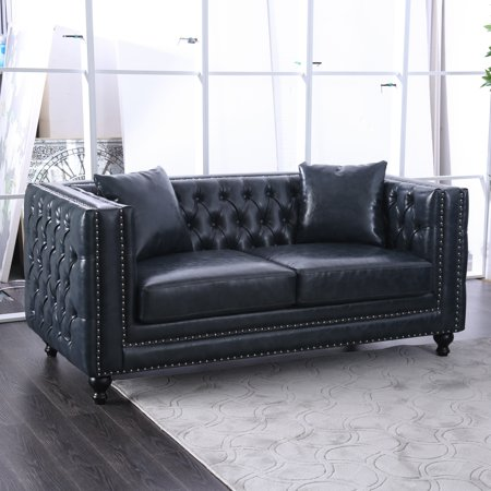 Tremendous Furniture Of America Waldorf Dark Grey Tuxedo Loveseat Caraccident5 Cool Chair Designs And Ideas Caraccident5Info