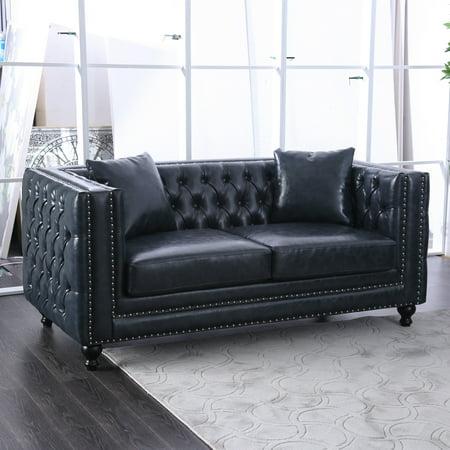 Wondrous Furniture Of America Waldorf Dark Grey Tuxedo Loveseat Customarchery Wood Chair Design Ideas Customarcherynet