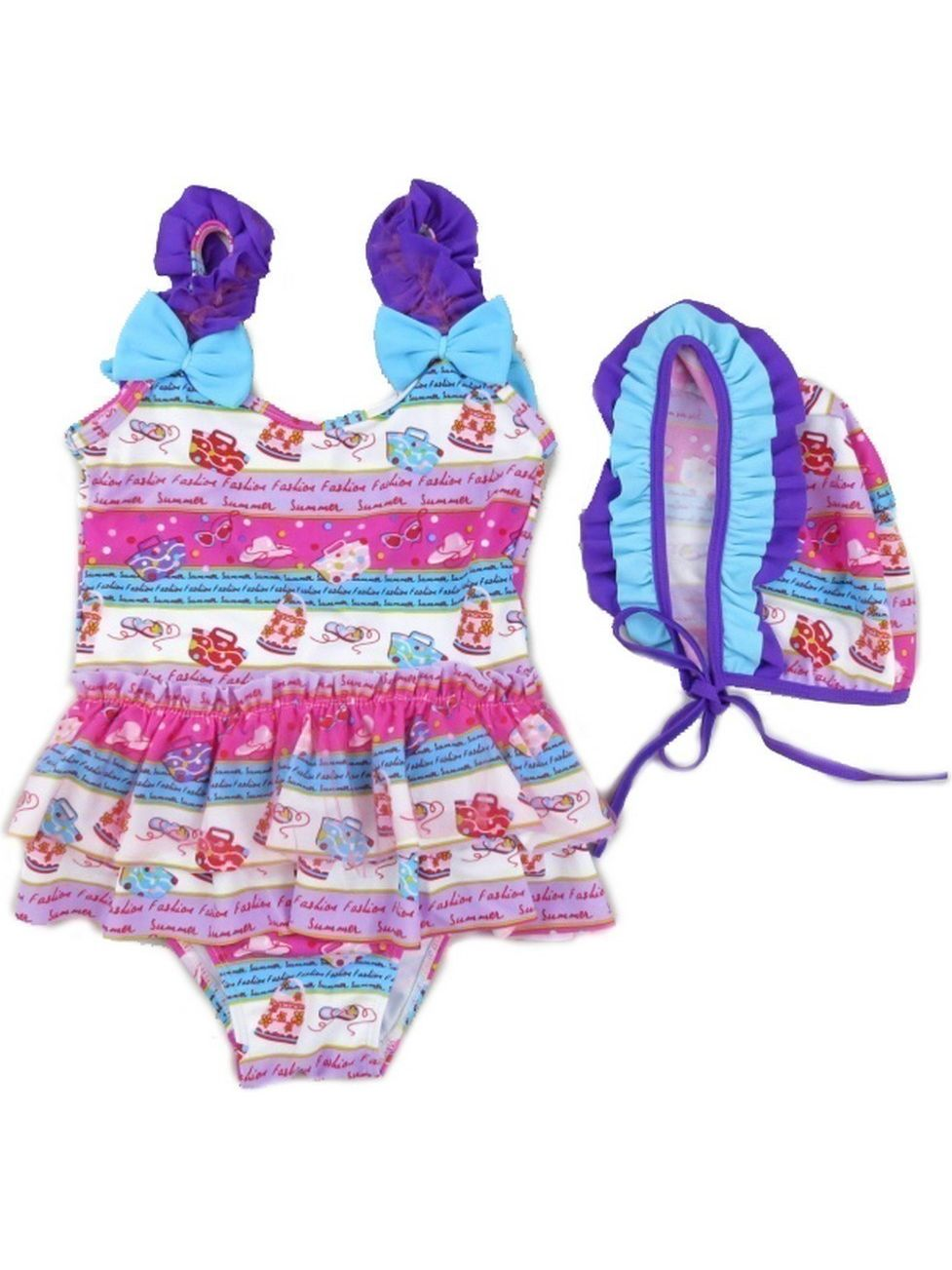 Wenchoice Little Girls Purple Blue Fashion Print Ruffle Cap Swimsuit