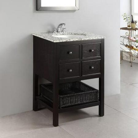 WyndenHall New Haven Espresso Brown 24 Inch 2 Drawer Bath Vanity Set With Dap