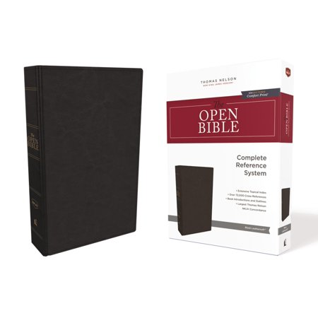 The NKJV, Open Bible, Imitation Leather, Black, Red Letter Edition, Comfort Print : Complete Reference -