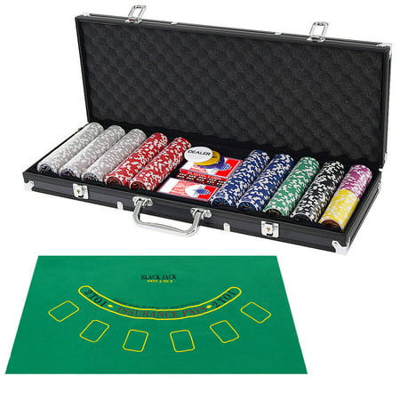 Costway Poker Chip Set 500 Dice Chips Texas Hold