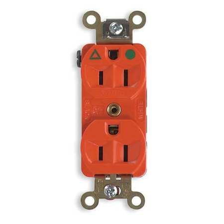 HUBBELL WIRING DEVICE-KELLEMS Receptacle,Duplex,15A,5-15R,125V,Orange IG8200