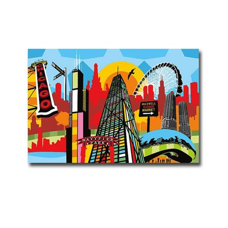 Chicago by Lobo Premium Oversize Gallery-Wrapped Canvas Giclee Panorama Art - 30 x 45 x 1.5 in. - image 1 de 1