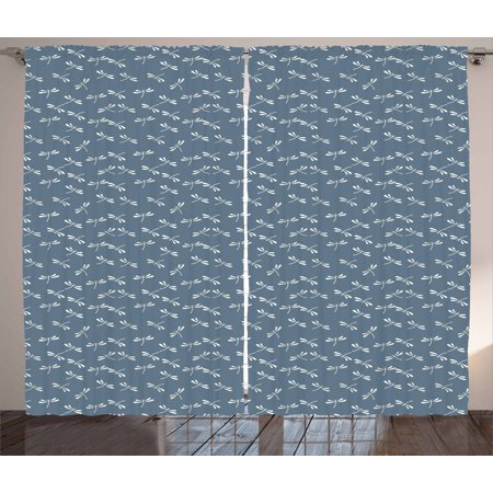 Dragonfly Curtains 2 Panels Set, Tropical Wildlife Pattern Japanese Style Oriental Nature Inspired Pattern, Window Drapes for Living Room Bedroom, 108W X 84L Inches, Slate Blue White, by Ambesonne