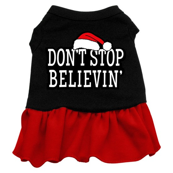 Don't Stop Believin' Screen Print Dress Black with Red XXL (18)