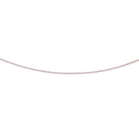 14K Rose Solid Gold 2.5mm Shiny Textured Fancy Pendant Cable Chain 18 Necklace Lobster Clasp
