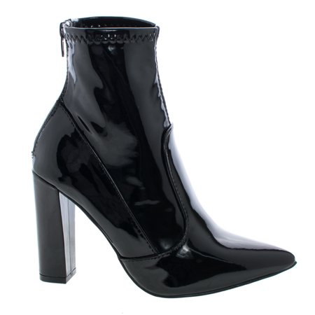 Eloise1 by Liliana, Black Fetish Ankle Booties On Block High Heel Dress Boots