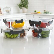 Orii 4pc with Lids Glass Food Storage Compartment Containers with High Wall Dividers