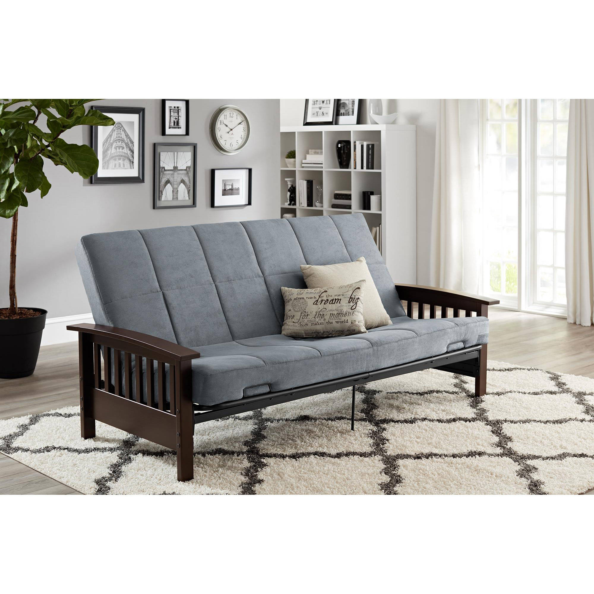 itm convertible futon less sofa for faux leather futons tufted quality morgan top brown mainstays