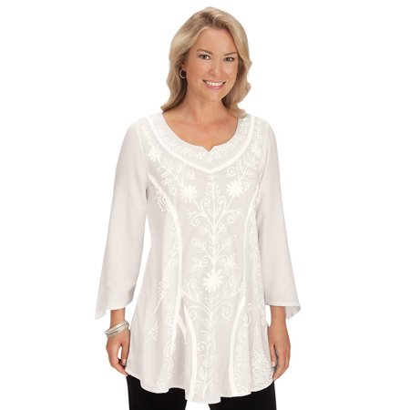 women's women's floral embroidered long tunic top, 3/4 sleeve shirt, xx-large, ivory