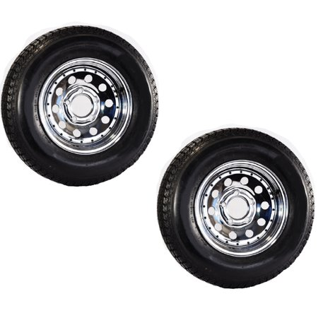 Two Trailer Tires Rims ST205/75D14 2057514 F78-14 5 Lug Chrome Mod Chrome Rims And Tires