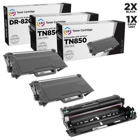 LD Compatible Replacements for Brother TN850 High Yield Black Toner & DR820 Drum Unit (2 Toner Cartridges, 1 Drum