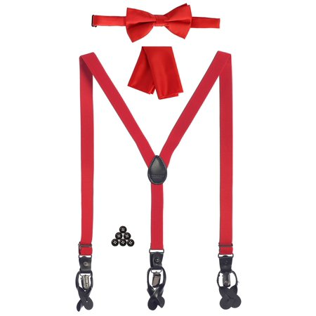 Gioberti Boys Red Convertible Suspenders Bow Tie Buttons and Hanky Set - Red Bowtie And Suspenders
