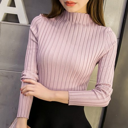 Women's Long Sleeve Slim Knitted Turtleneck Sweater Jumper Pullover Tops Pink