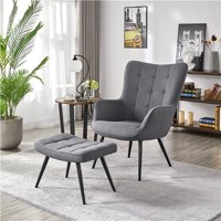 SmileMart Modern Accent Chair and Ottoman Set (Gray Fabric)