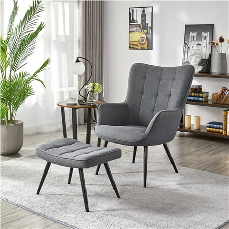 Modern Accent Chair and Ottoman Set, Gray Fabric Now $179