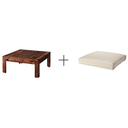 Ikea Table/stool section, outdoor, brown stained brown,Seat pad, outdoor, beige 24x24 ""