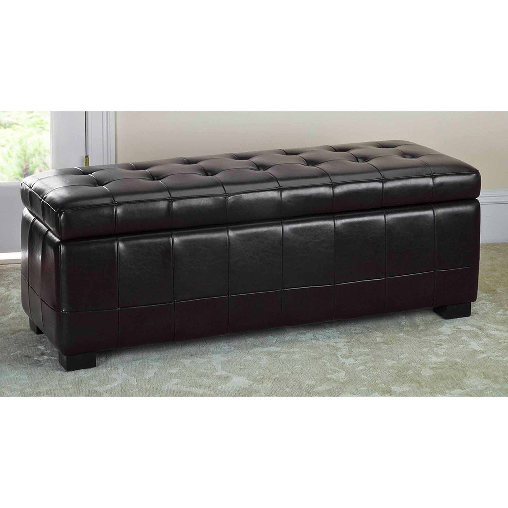 Safavieh Large Manhattan Beechwood Bicast Leather Upholstered Storage Bench, Multiple Colors