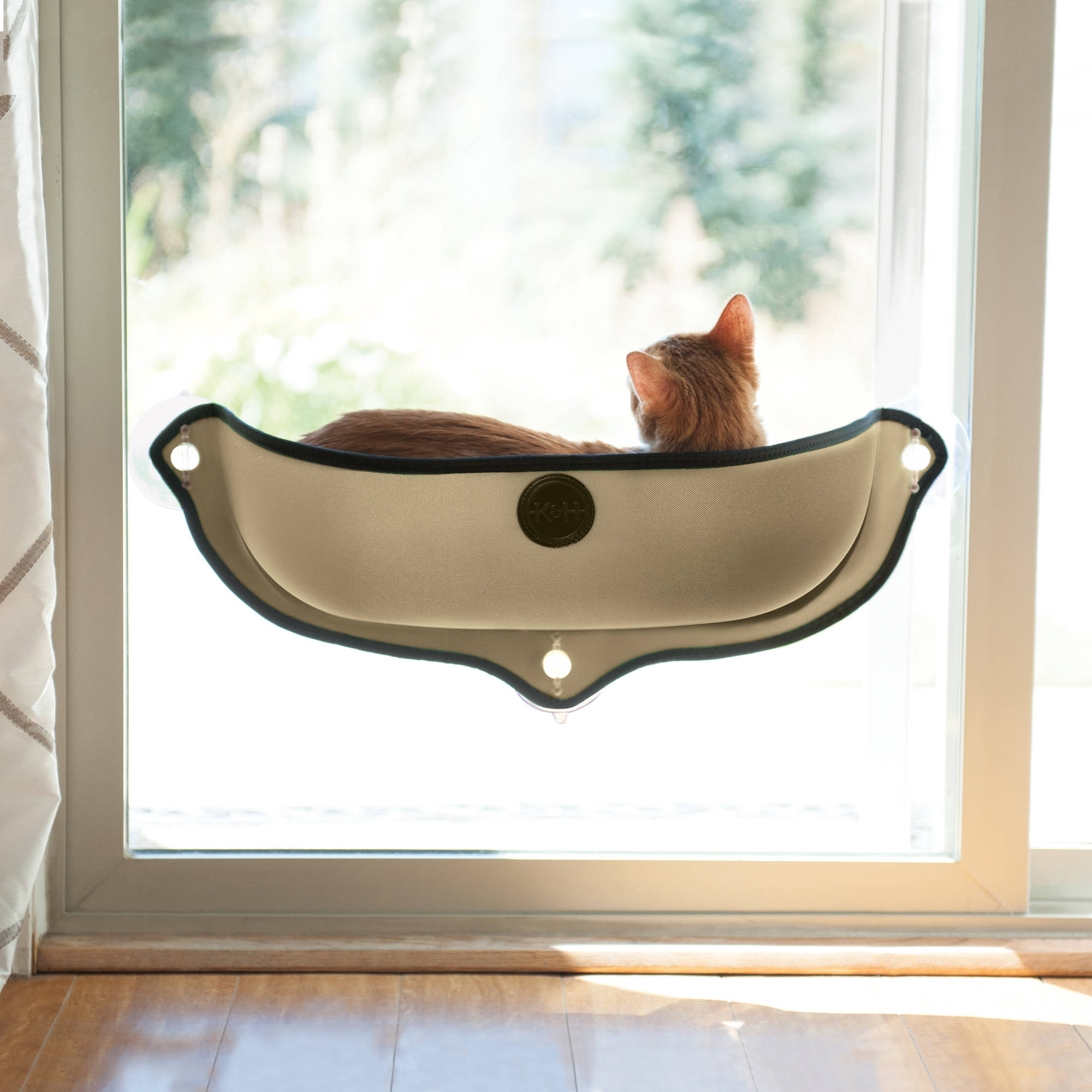 K&H Pet Products EZ Mount Window Cat Bed, Small, Brown