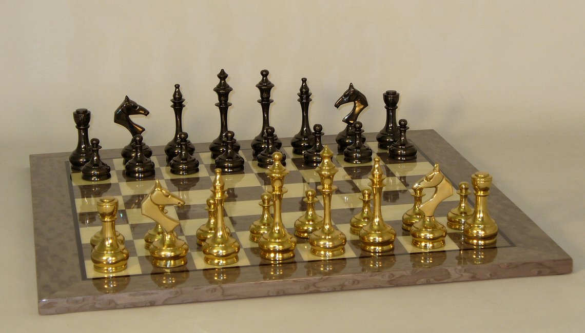 """3.75"""" Slim Solid Brass on Grey Briarwood Chess Board by WorldWise Imports"""