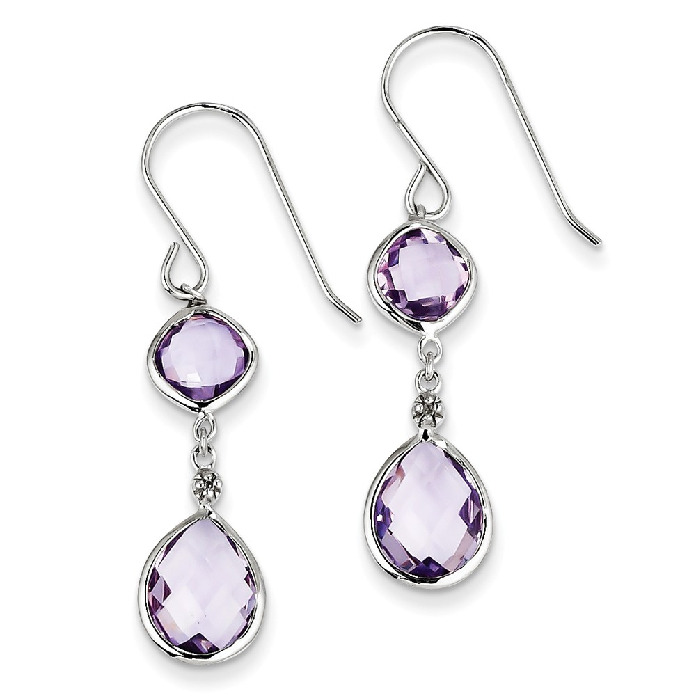 Sterling Silver Rhodium Plated Diamond Pink Quartz Earrings. Gem Wt- 6ct (1IN x 0.3IN )