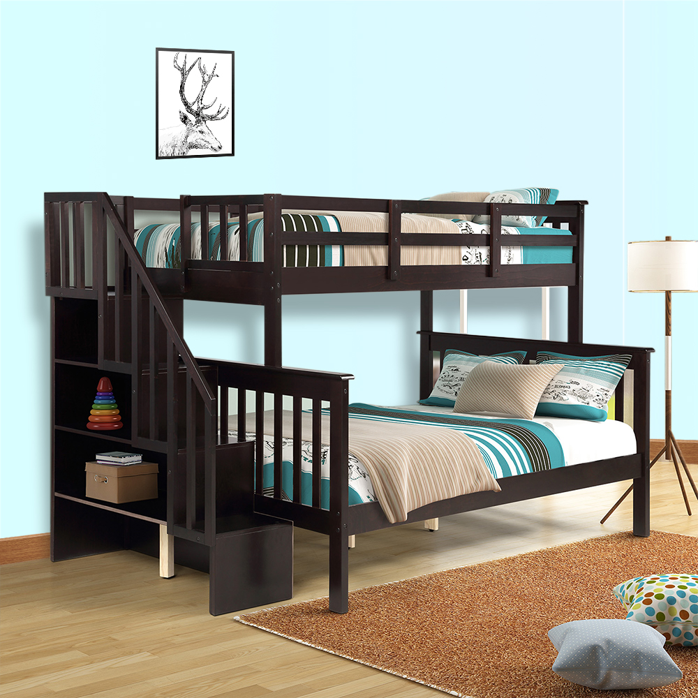 Clearance! 76.97'' x 51.57'' Twin-Over-Full Bunk Bed with Upper