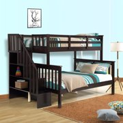 Clearance! Bunk Bed Twin-Over-Full, Twin Daybed and Frame Sets, Premium Firm Feel Solid Wood Support with Ladder and Safety Rail, Roll Out w/4 Storage Shelves, 250lbs, Espresso, S1940