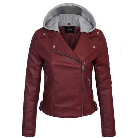KOGMO Womens Faux PU Leather Zip Up Double Breast MOTO Jacket with Hoodie