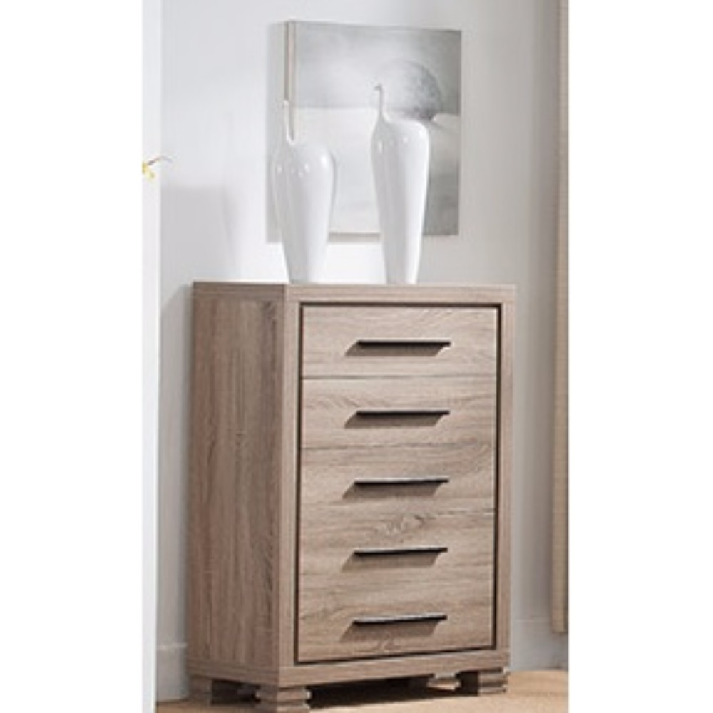 Elegant Brown Finish Chest With Five Drawers On Metal Glides.