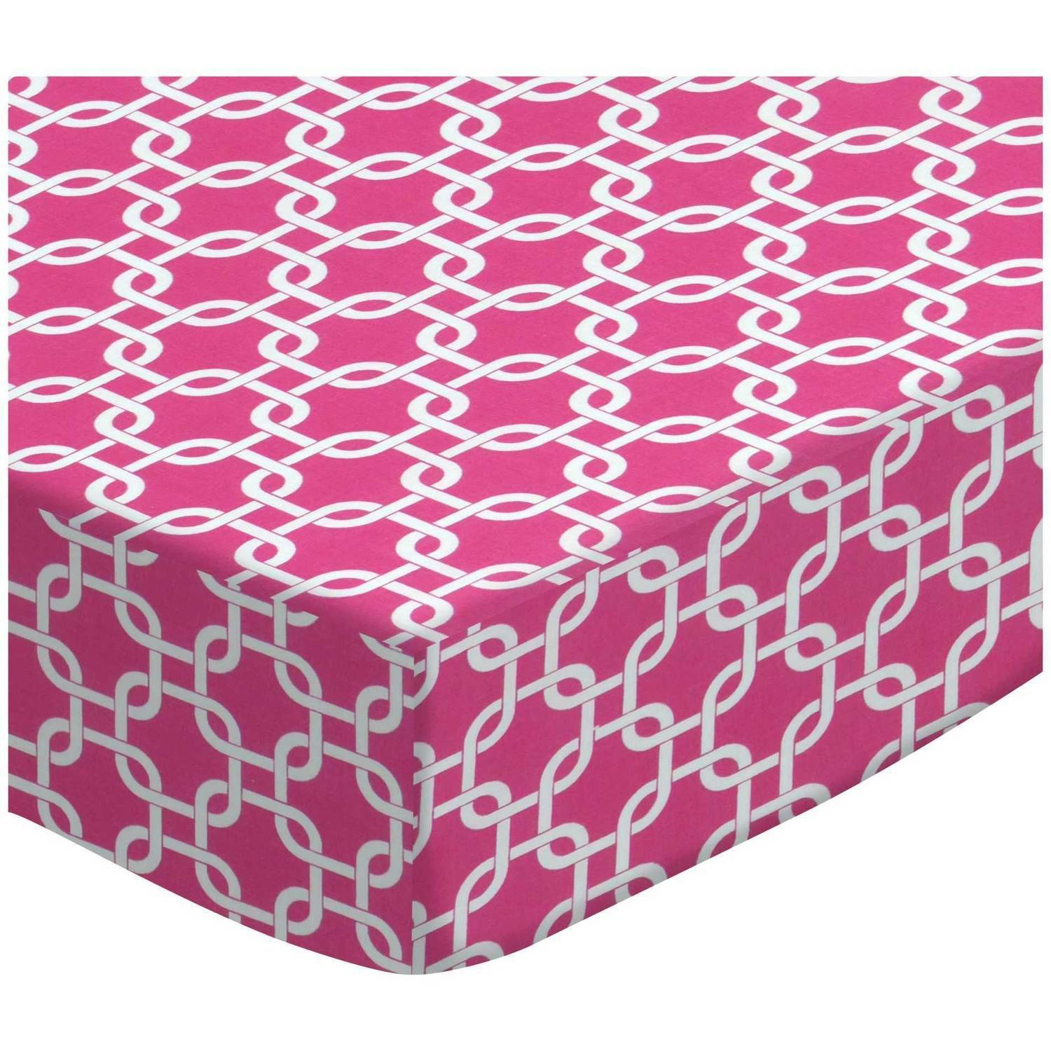 SheetWorld Fitted Pack N Play (Graco Square Playard) Sheet - Hot Pink Links