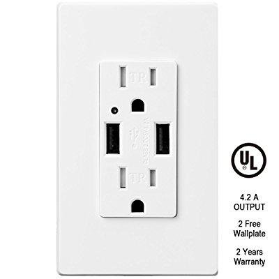 TOPELE LD-UR01 4.2A Smart Fast/Quick Charger USB Wall Outlet, 15A Tamper Resistant AC Duplex Receptacle, Dual USB Power Ports with 2 Frees Wall Plates, UL Listed, White Duplex Ac Outlet