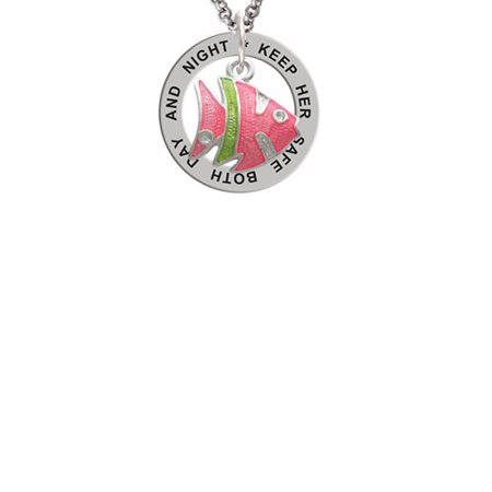 Keeping Tropical Fish - Hot Pink Tropical Fish with Lime Green Stripe Keep Her Safe Both Day And Night Affirmation Ring Necklace