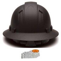Full Brim Pyramex Hard Hat, Hydrodipped Black Matte Safety Helmet 6pt + 3pk Beige Hard Hat Sweatband, by AcerPal