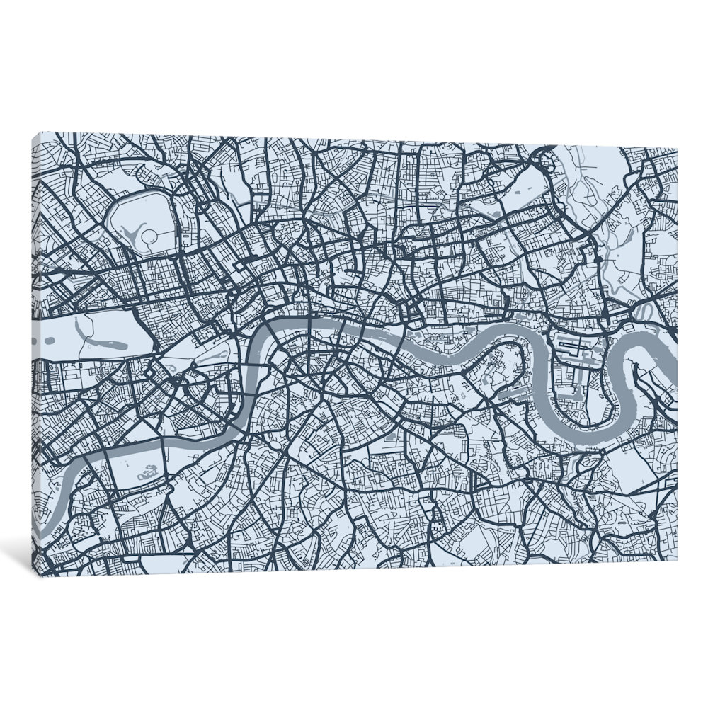 iCancas London Map VIII Gallery Wrapped Canvas Art Print by Michael Tompsett