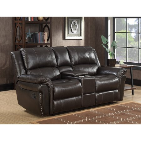 MorriSofa Global Inc. Landon Dual Lay Flat Reclining Leather Touch Loveseat with Console, Memory Foam Seat Toppers, USB Charging and AC Power Outlets