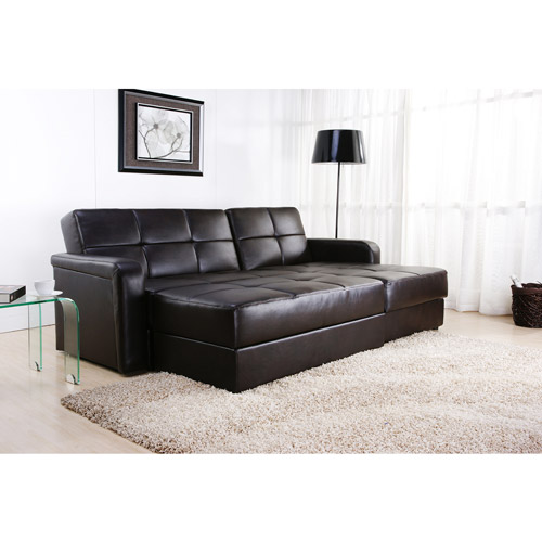 Davoli Convertible Sectional Sofa and Ottoman Chocolate Brown Faux Leather Box 1 of 3