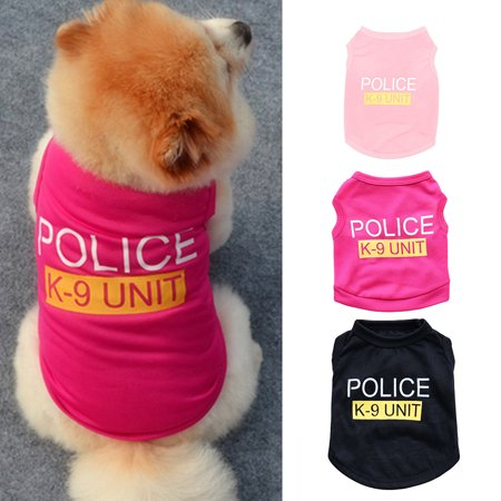 Girl12Queen Small Dog Vest Puppy Police Letters T-Shirt Summer Pet Clothes Apparel - Police Dog Outfit