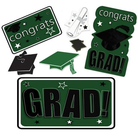 Graduation Face Cutouts (Congrats Grad Mega Value Pack School Colors Graduation Decor 30pc)