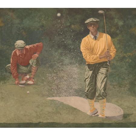 Vintage Golf Play Sports Green Extra Wide Wallpaper Border Retro Design, Roll 15' x 11'' - image 1 de 3