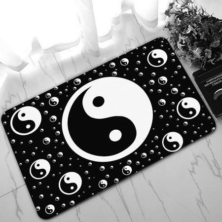Yin Yang Rug (PHFZK Asian Doormat, Chinese Symbol of Taoism Yin Yang Doormat Outdoors/Indoor Doormat Home Floor Mats Rugs Size 30x18)